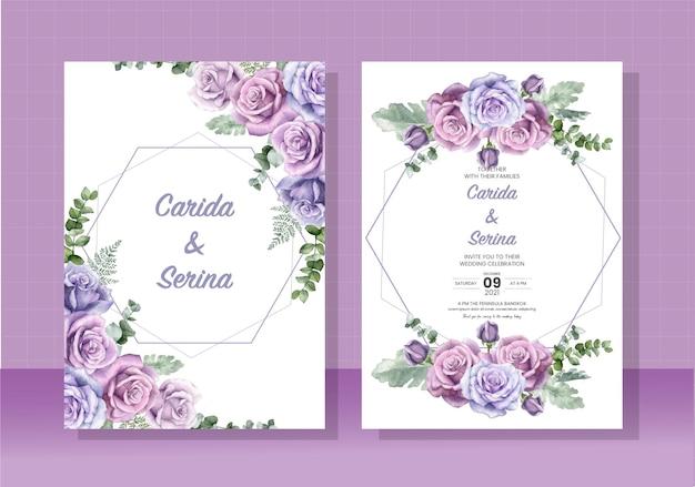 Шаблон свадебной открытки, нарисованный акварелью