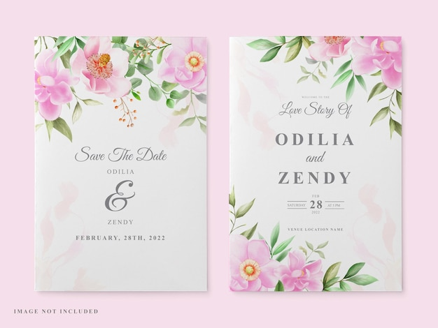 Шаблон свадебной открытки розовая магнолия дизайн