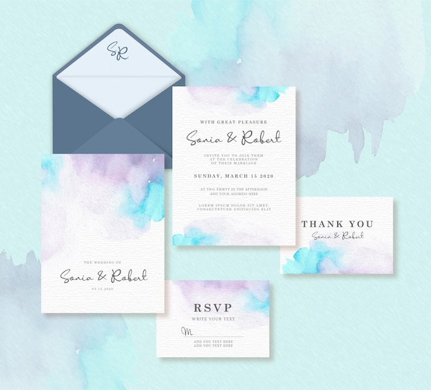 Wedding card template set with splash watercolor