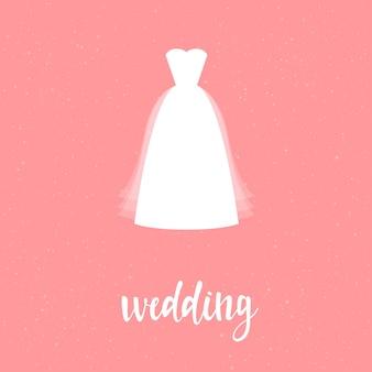 ウェディングカードテンプレート。ピンクのカバーで隔離の白いウェディングドレス。