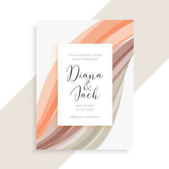 Wedding card template with abstract wavy shape design