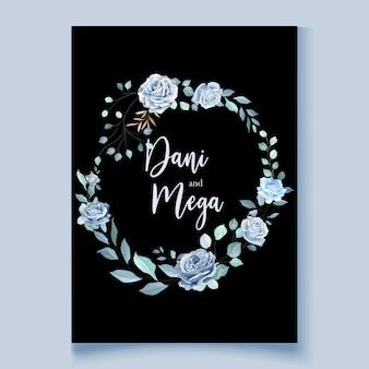 아름 다운 푸른 꽃 화 환으로 웨딩 카드 템플릿