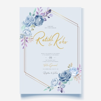Wedding card template with beautiful blue floral wreath