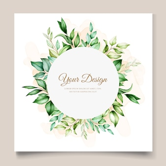 Wedding card template with beautiful floral watercolor leaves