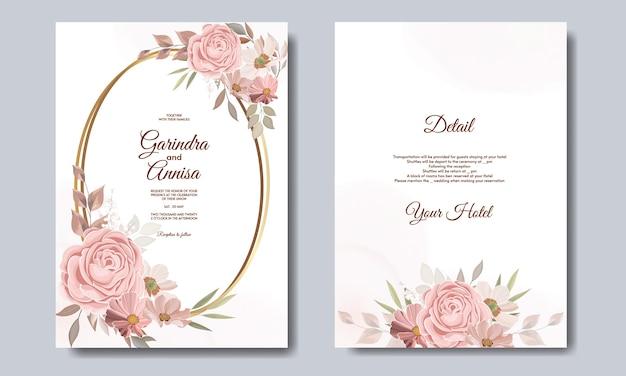 Шаблон свадебной открытки с красивым цветочным венком премиум-класса vector