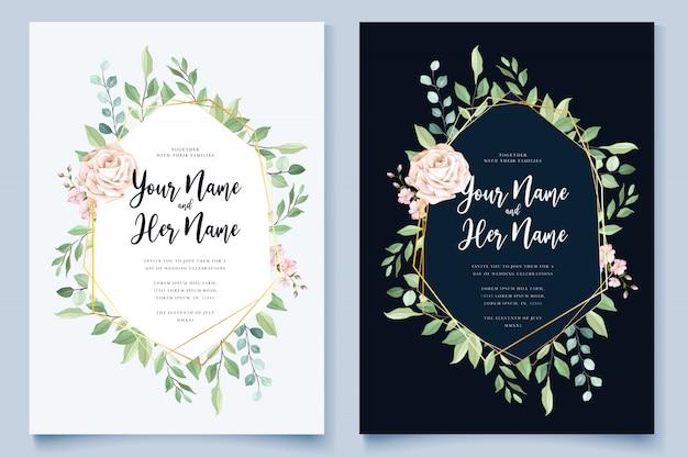 美しい花の花輪を持つ結婚式カードテンプレート