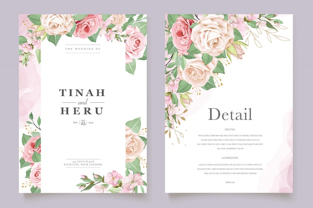 Wedding card template with beautiful floral wreath