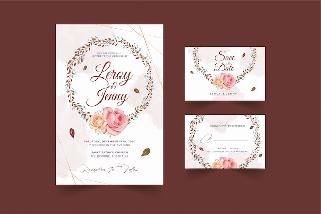 Wedding card template with beautiful watercolor floral wreath