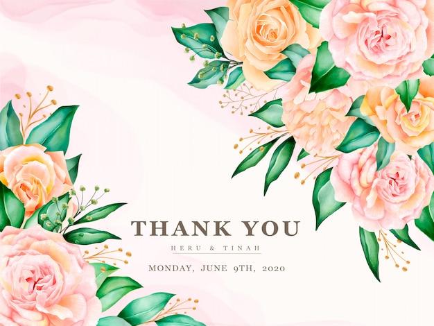 아름 다운 수채화 꽃 화 환으로 웨딩 카드 템플릿