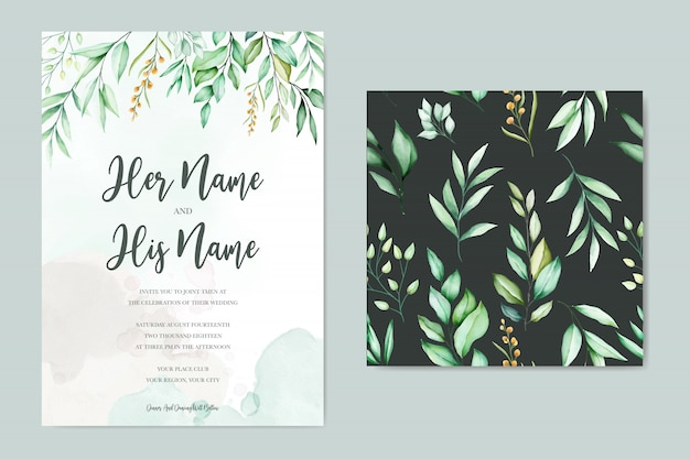Wedding card template with beautiful watercolor leaves