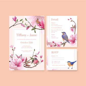 Wedding card template with blossom and bird design