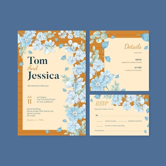 Wedding card template with blue flower peaceful concept,watercolor style