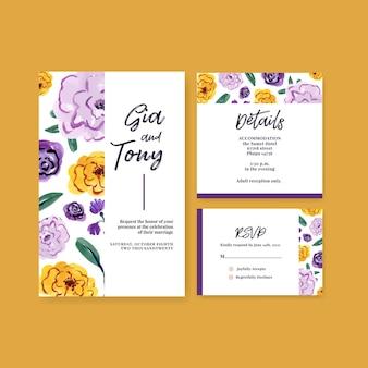 초대 및 결혼 수채화 브러시 florals 컨셉 디자인 웨딩 카드 템플릿