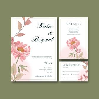 コテージコアの花のコンセプト、水彩スタイルのウェディングカードテンプレート
