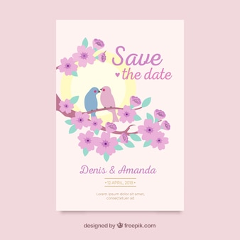 Wedding card template with flat flowers