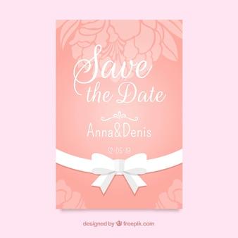 플랫 꽃 웨딩 카드 템플릿