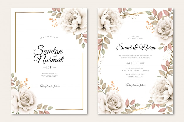 Wedding card template with floral aquarel