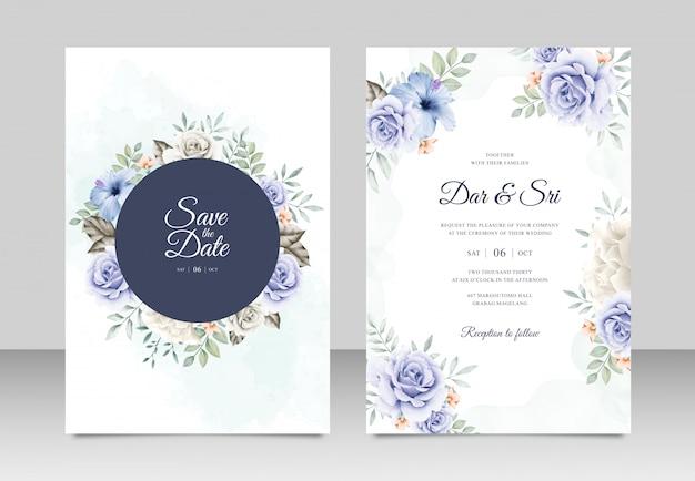Шаблон свадебной открытки с цветочной акварелью