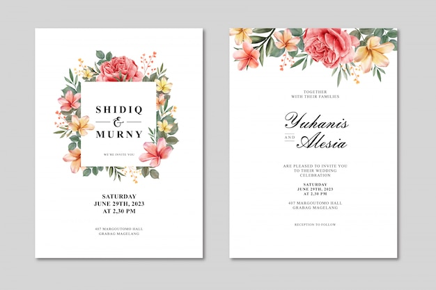 Wedding card template with floral frame multi purpose