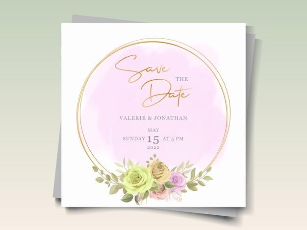 Шаблон свадебной открытки с цветочной темой