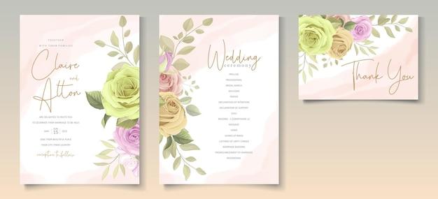 花をテーマにしたウェディングカードテンプレート