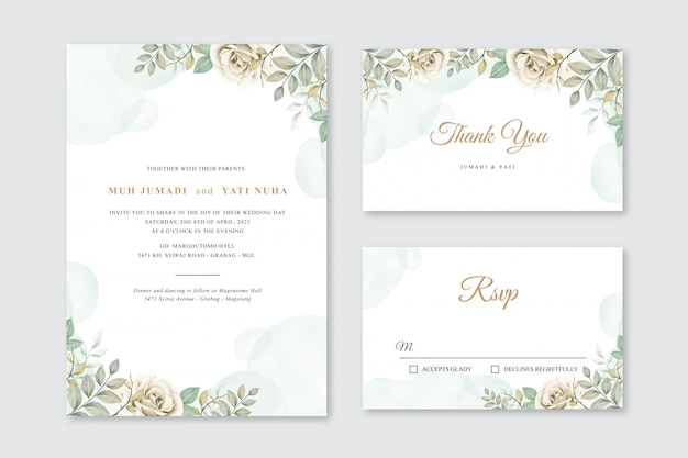 Wedding card template with flowers and leaves watercolor