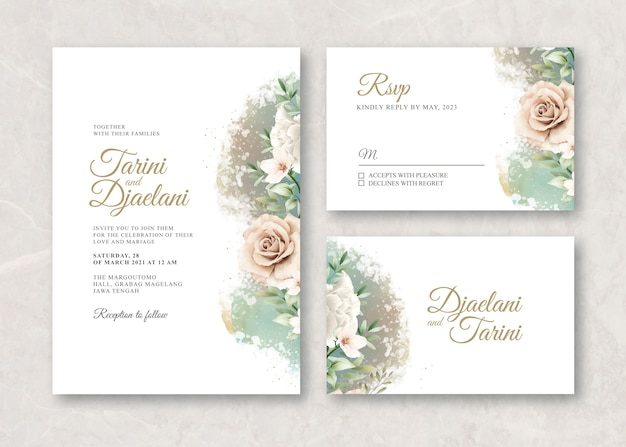 Wedding card template with flowers watercolor