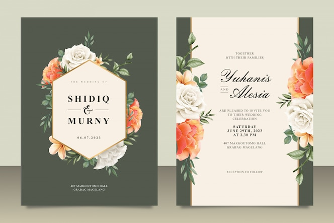 Wedding card template with frame floral