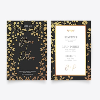 Wedding card template with golden flowers
