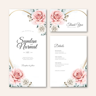 Wedding card template with golden frame floral watercolor