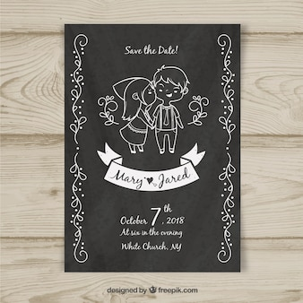 Wedding card template with hand drawn characters