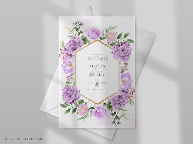 Шаблон свадебной открытки с рисованной цветами