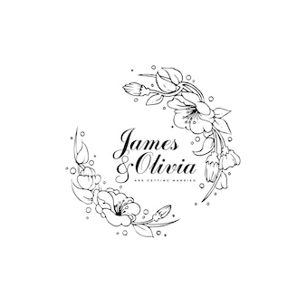 Wedding card template with hand drawn hibiscus flowers