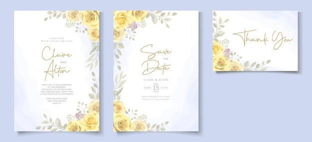 手描きの黄色の花飾りをテーマにしたウェディングカードテンプレート