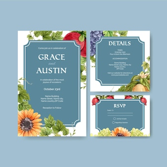 Wedding card template with italian style in watercolor style
