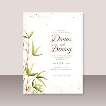 잎 수채화 그림으로 웨딩 카드 템플릿
