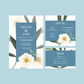 라일락 바이올렛 웨딩 컨셉, 수채화 스타일이 있는 웨딩 카드 템플릿