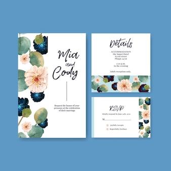 Шаблон свадебной открытки с любовью, цветущей концепцией дизайна, акварельной иллюстрацией