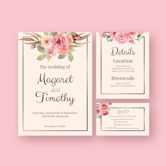 Wedding card template with love blooming concept design watercolor illustration