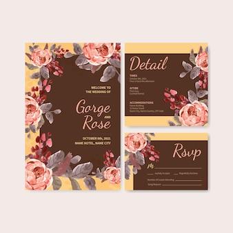 Modello di carta di nozze con amore fioritura concept design illustrazione dell'acquerello