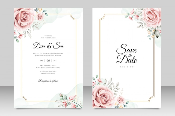 Wedding card template with minimalist floral watercolor