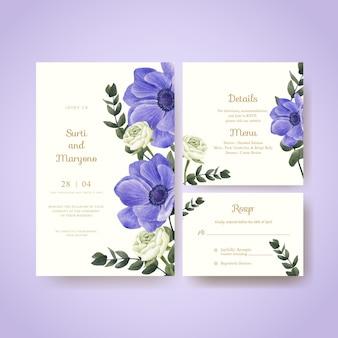 Шаблон свадебной открытки с красной цветочной концепцией muave, акварельным стилем