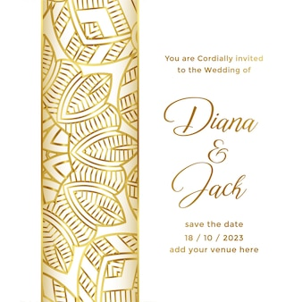 Wedding card template with ornamental decorative style