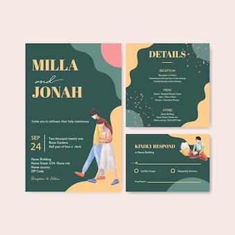 Шаблон свадебной открытки с райским любовным концептуальным дизайном для акварельной иллюстрации приглашения