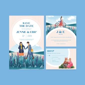 Modello di carta di nozze con design concept amore paradiso per illustrazione dell'acquerello dell'invito