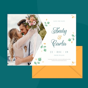 Wedding card template with photo of married couple