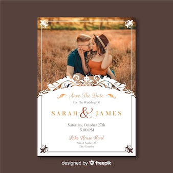 Wedding card template with photo and ornaments