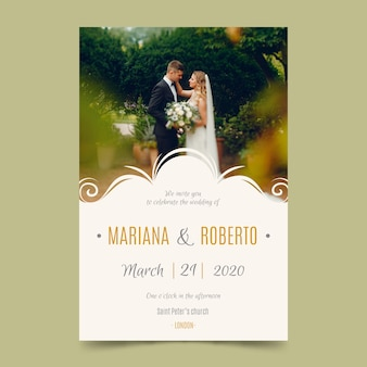 Wedding card template with photo