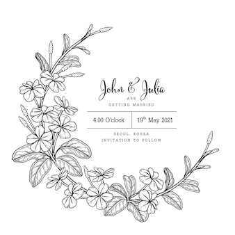 Wedding card template with plumbago auriculata (cape leadwort) flower drawings