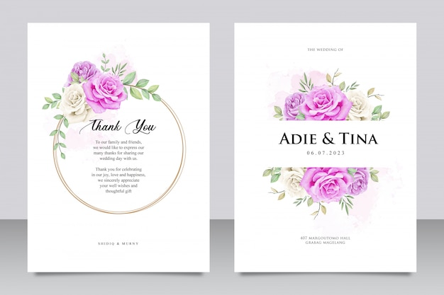 Wedding card template with purple rose flower